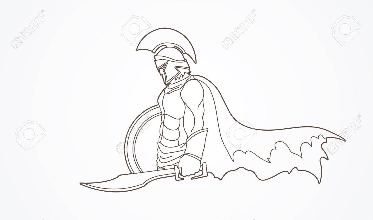 1300x768 Spartan Warrior With Sword And Shield Outline Graphic Vector