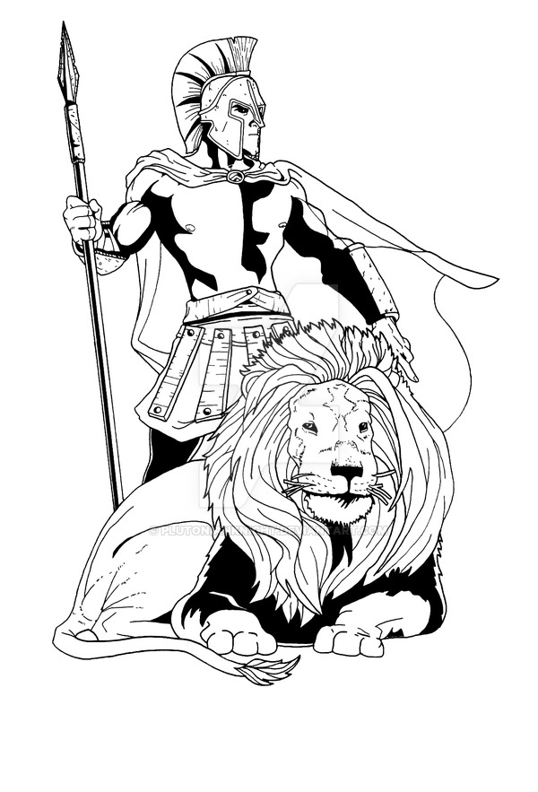 600x883 Spartan Warrior With Lion By Plutonianknight
