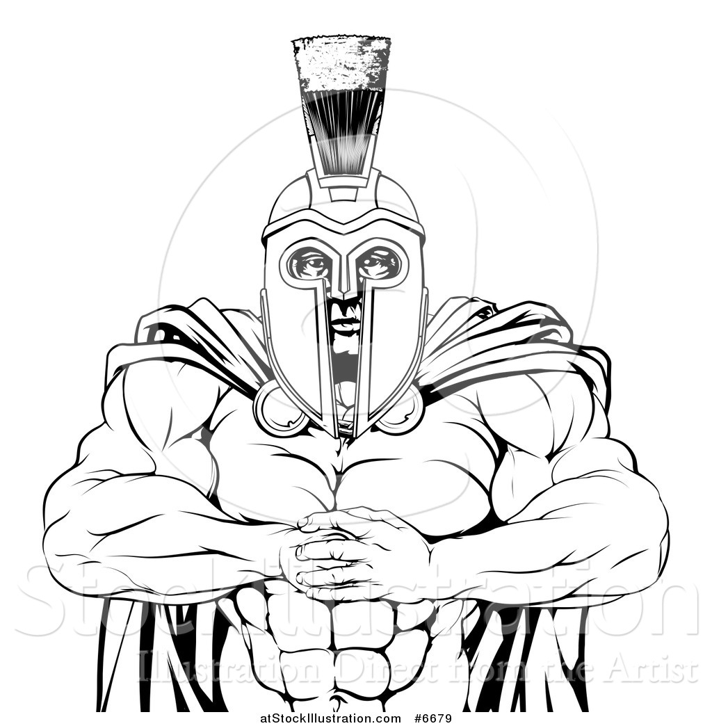 1024x1044 Vector Illustration Of A Black And White Tough Muscular Spartan