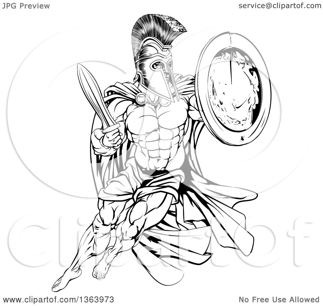 1080x1024 Clipart Of A Black And White Strong Spartan Trojan Warrior Mascot