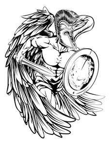 227x300 Drawing Sketch Style Illustration Of A Wounded Spartan Warrior
