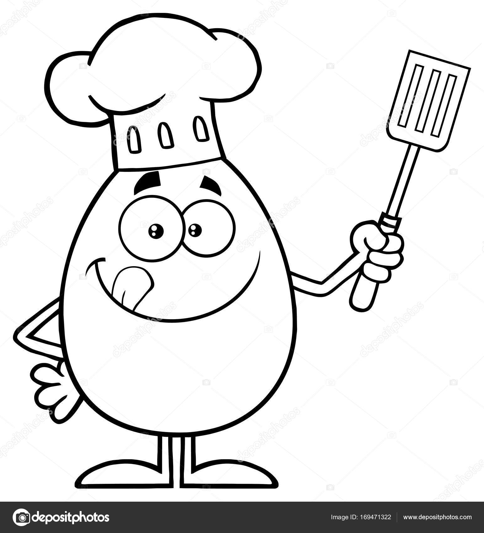1543x1700 Chef Egg Holding Spatula Stock Vector Hittoon