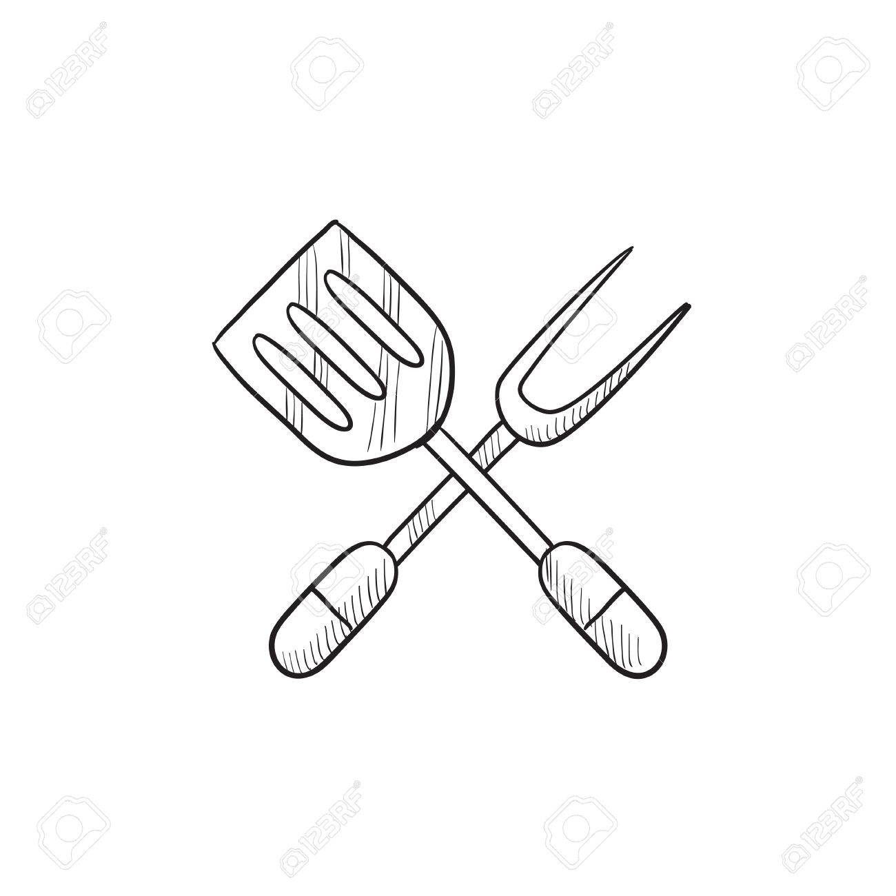 1300x1300 Kitchen Spatula And Big Fork Vector Sketch Icon Isolated