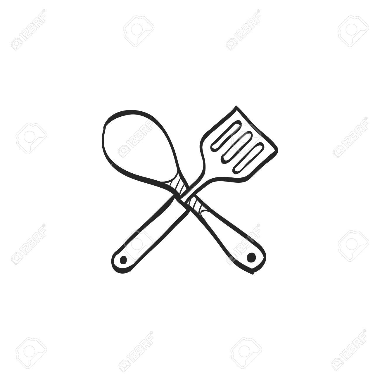 1300x1300 Spatula Icon In Doodle Sketch Lines. Cooking Utensil Kitchen