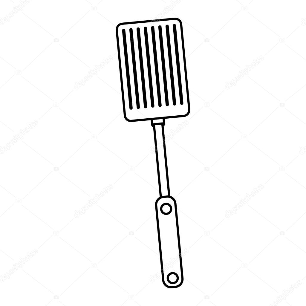 1024x1024 Silhouette Black With Frying Spatula Stock Vector Grgroupstock