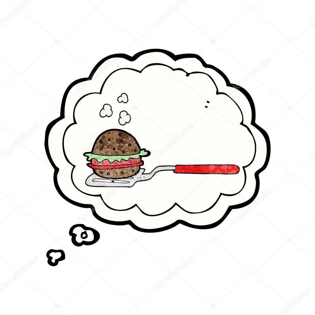 1024x1024 Thought Bubble Textured Cartoon Spatula With Burger Stock Vector