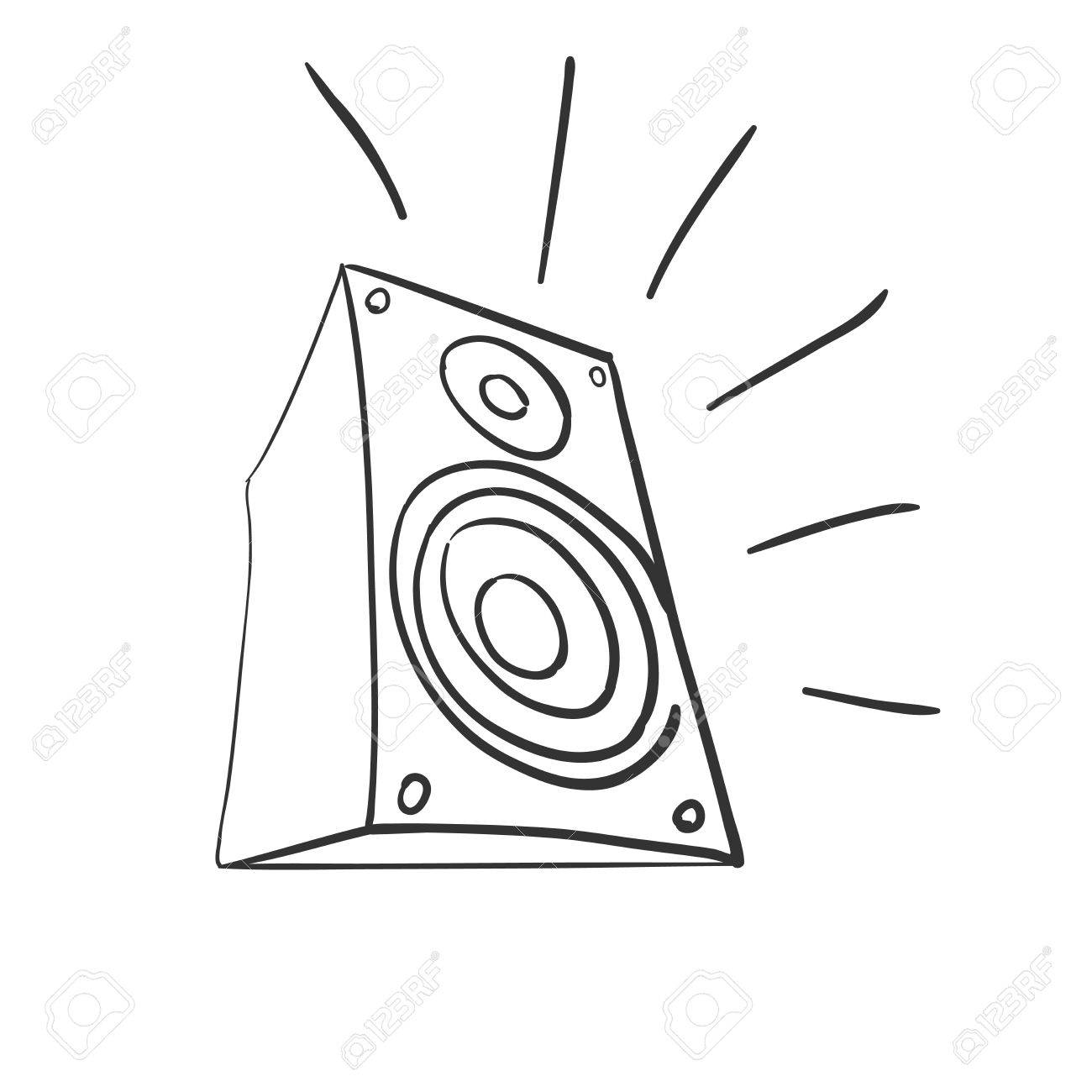 1300x1300 Doodle Speaker Icon Illustration On A White Background Royalty