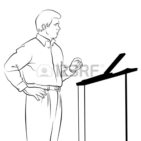 450x450 Line Drawing Of Speaker With Podium. Stock Photo, Picture