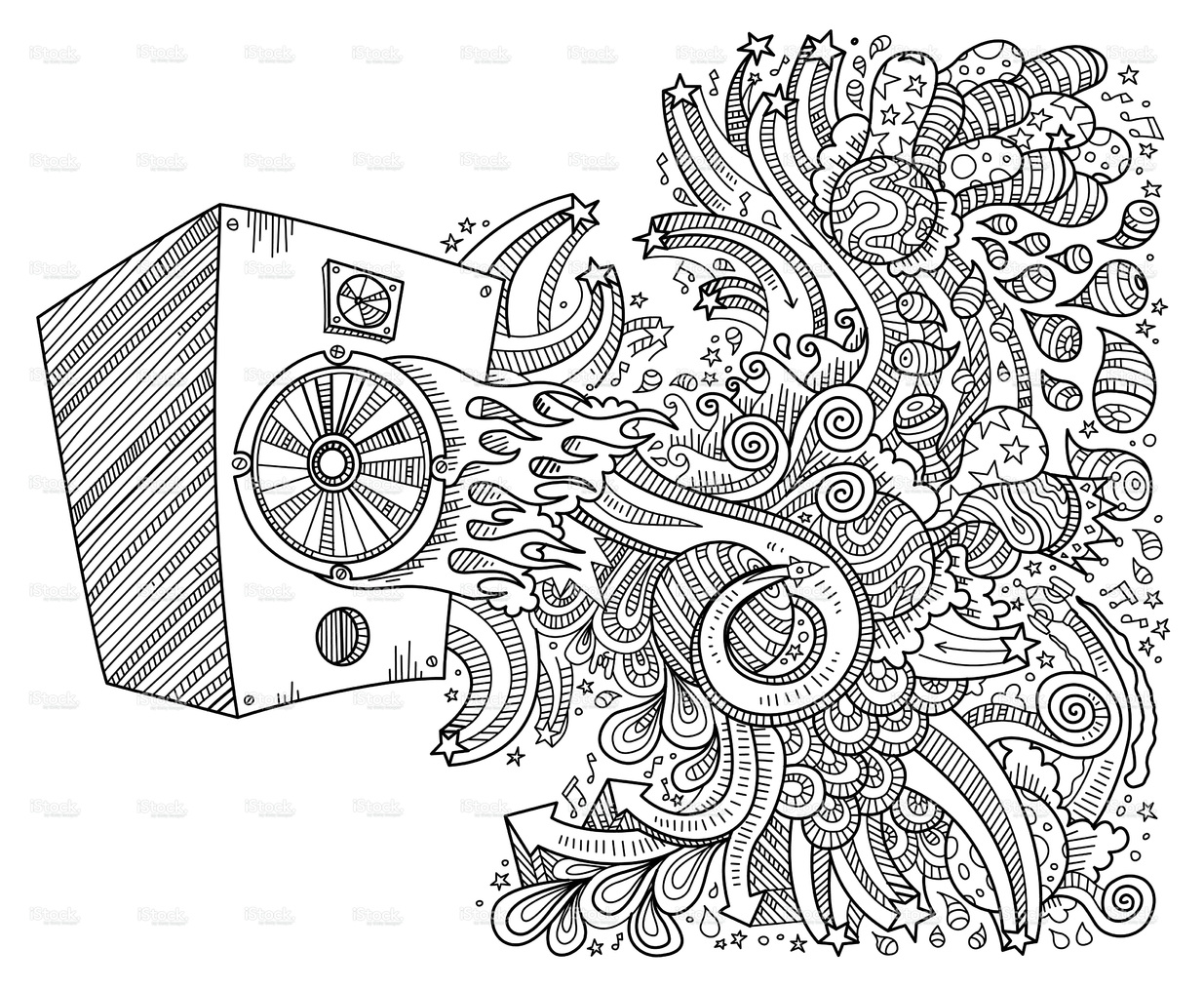 1235x1014 Speaker Doodles, Neat And Detailed, Strokes