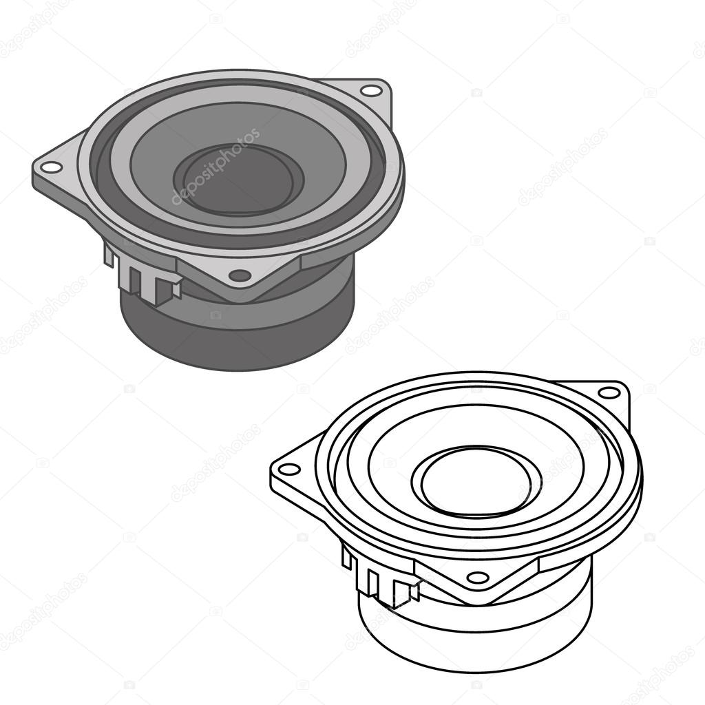1024x1024 Car Audio With Speakers. Car Spare Parts Stock Vector