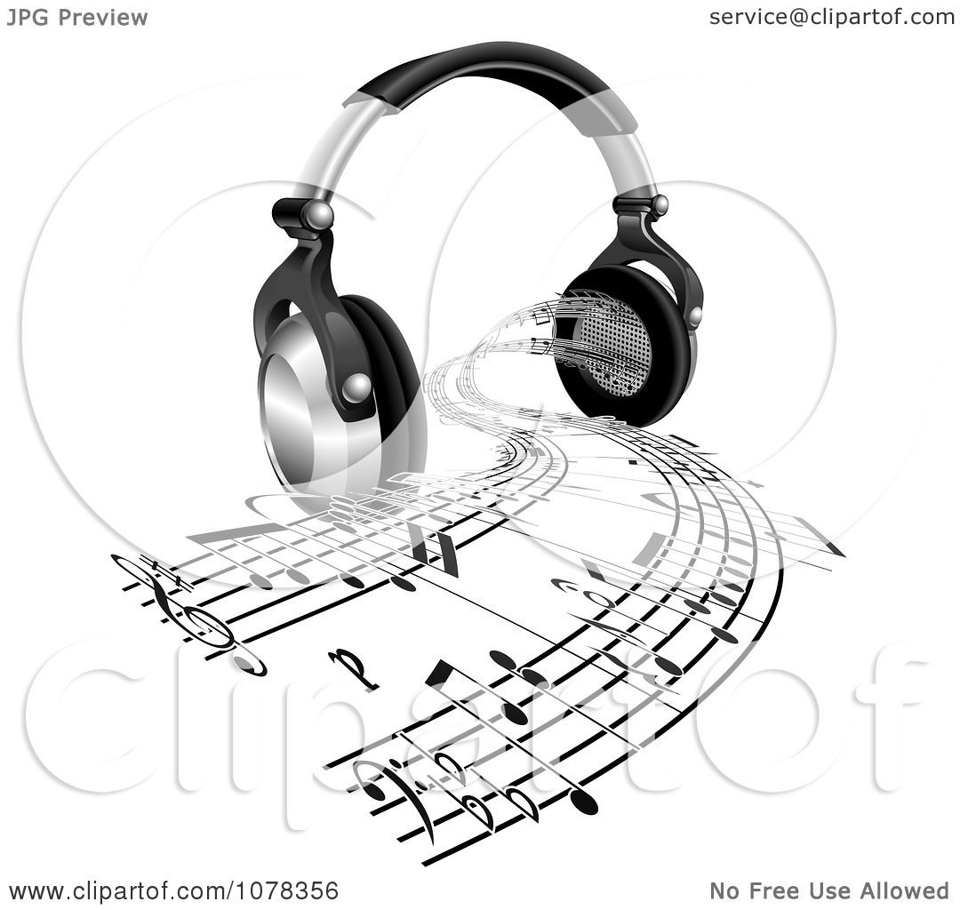 1080x1024 Clipart 3d Headphones With Sheet Music Streaming From Speakers