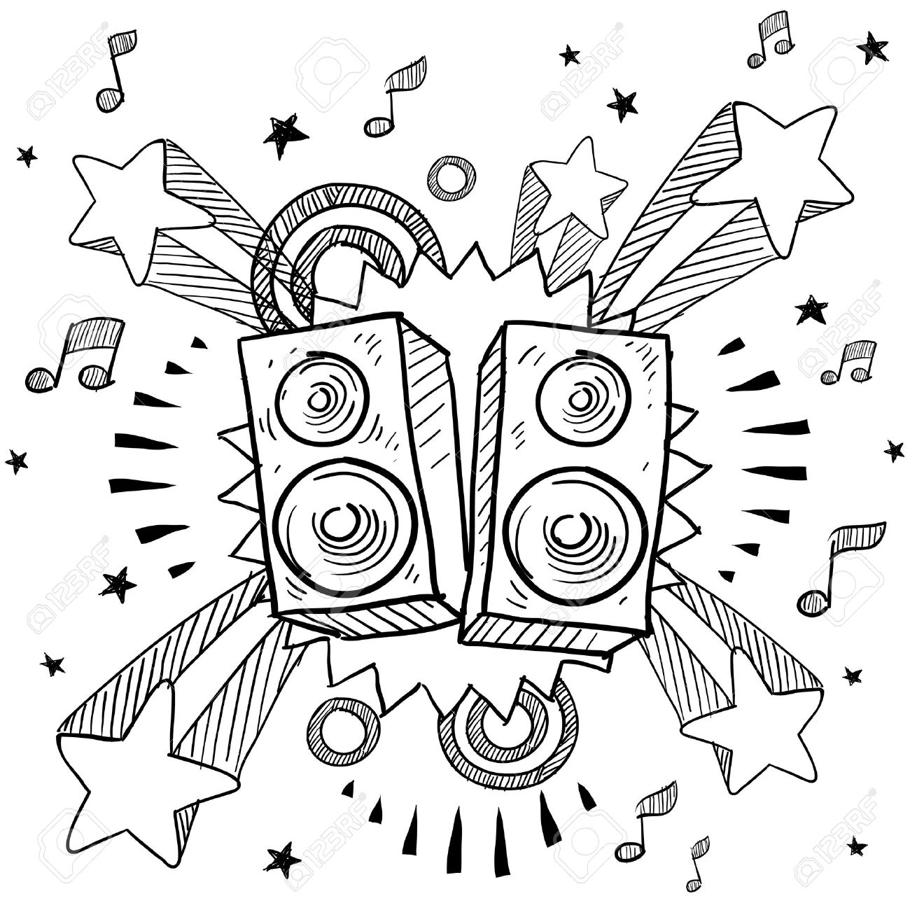 1300x1300 Doodle Style Stereo Speakers Illustration On A Retro Pop Explosion