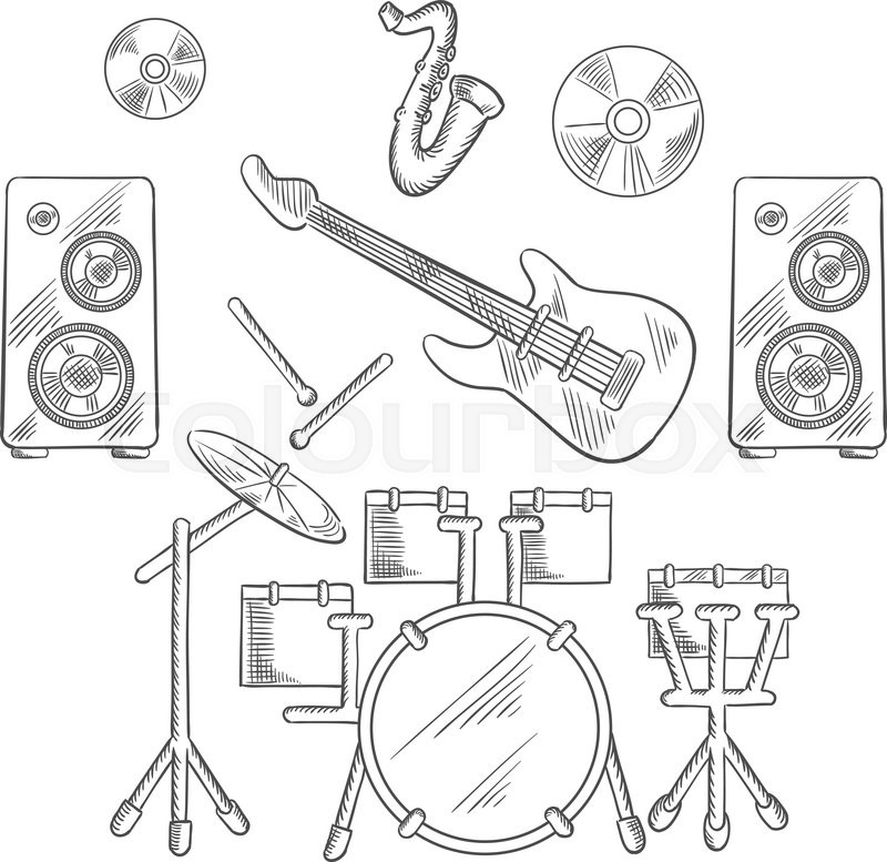 800x777 Musical Band Instruments With Drum Set, Electric Guitar, Drum