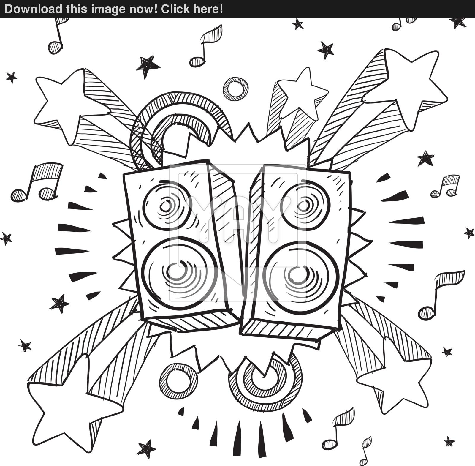 1600x1569 Stereo Speakers Explosion Vector Sketch Vector