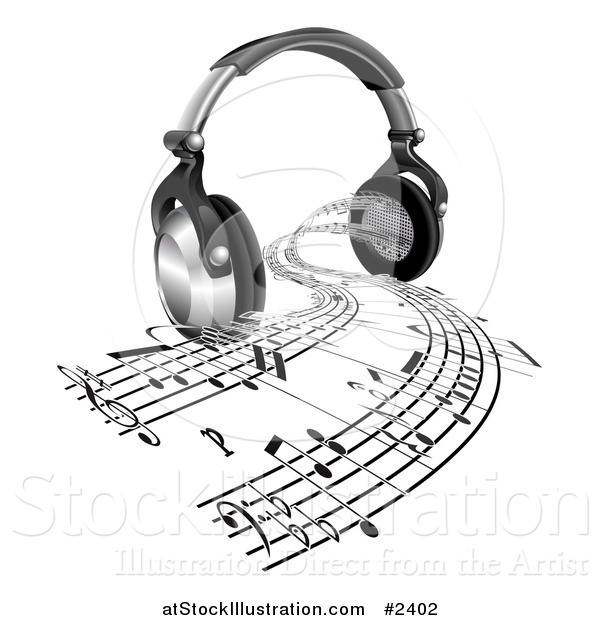 600x620 Vector Illustration Of 3d Headphones With Sheet Music Streaming