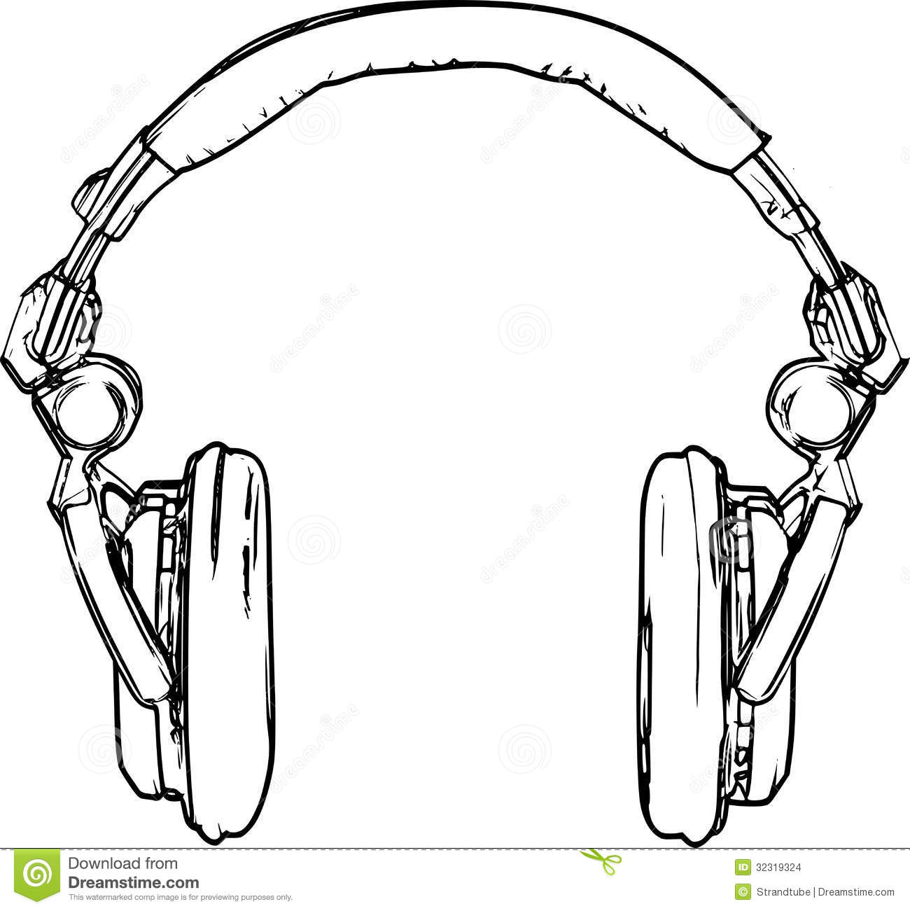 1300x1301 Headphone Sketch