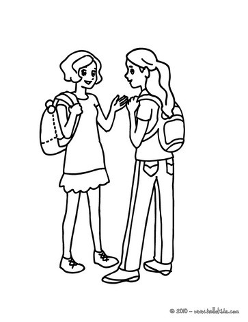 363x470 Girls Speaking In The School Yard Coloring Pages
