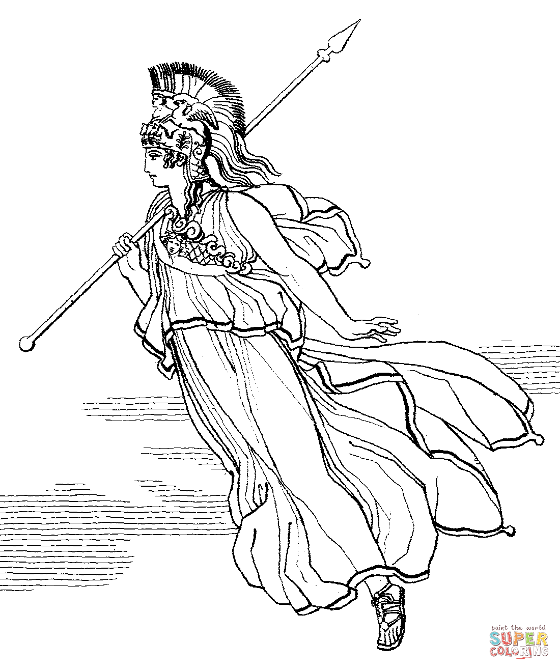 1100x1316 Athena With Spear Coloring Page Free Printable Coloring Pages