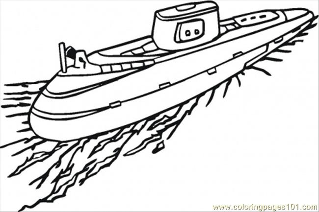 650x433 Submarine Coloring Page