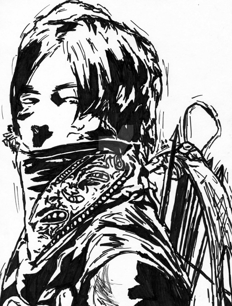 778x1026 Daryl Dixon The Walking Dead Marker Speed Draw By Malichinari