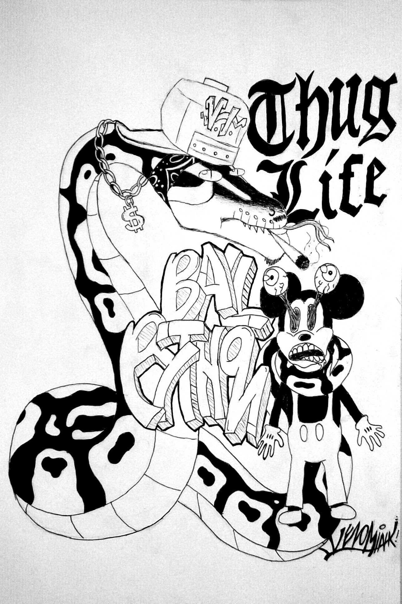1288x1934 Cartoon Thug Drawings Thug Life Ball Python Graffiti Style Speed