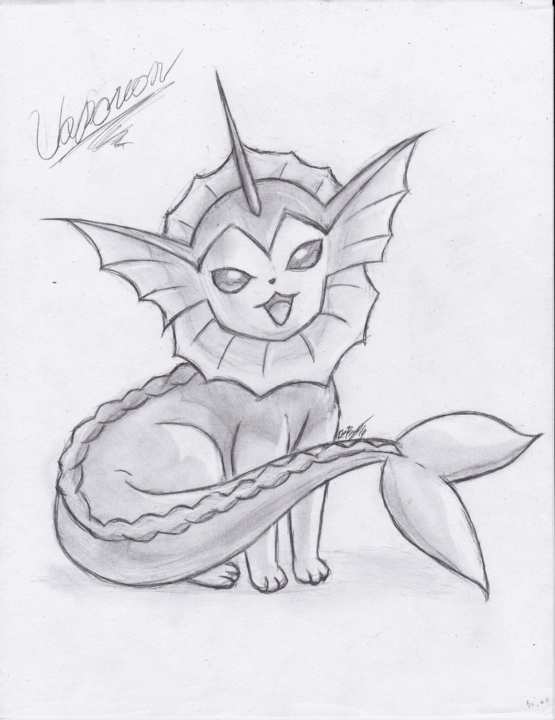 785x1017 Vaporeon + Speed Drawing (Description) By Halomindy