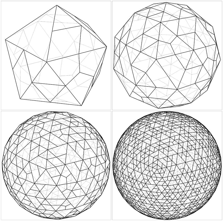 900x892 From Icosahedron To The Ball Sphere Lines Vector Digital Art By