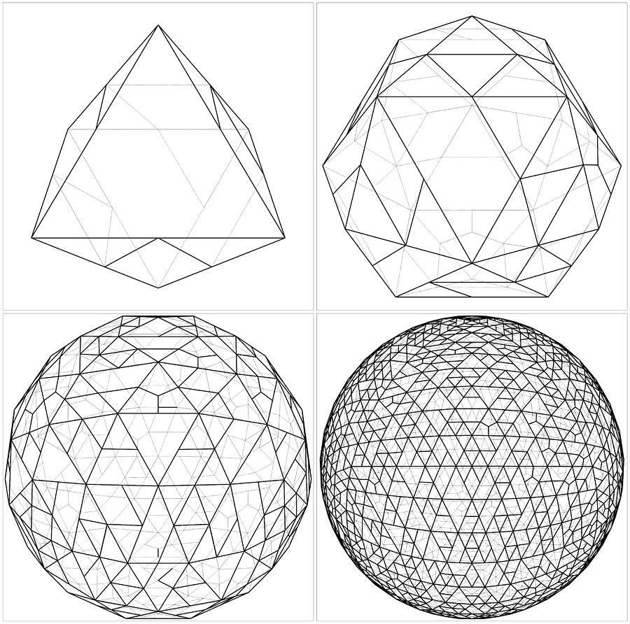 900x892 From Octahedron To The Ball Sphere Lines Vector Digital Art By
