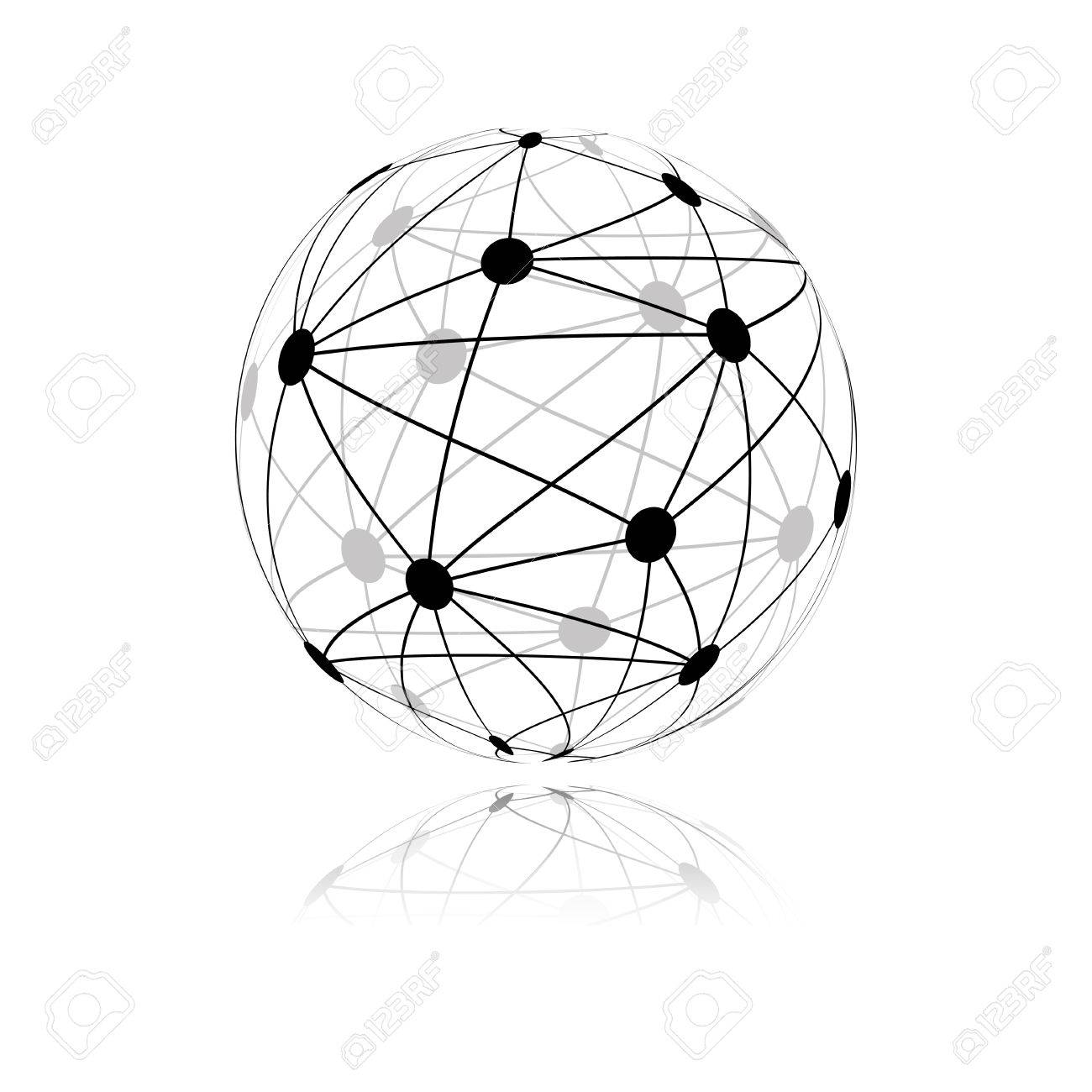 1300x1300 Global Network Sphere Icon. Vector Royalty Free Cliparts, Vectors