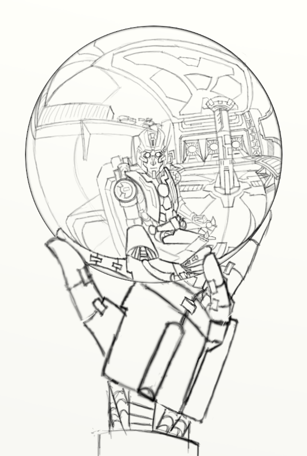 600x890 Rung's Hand With Reflecting Sphere (Prep Drawing) By Bluetabbycat