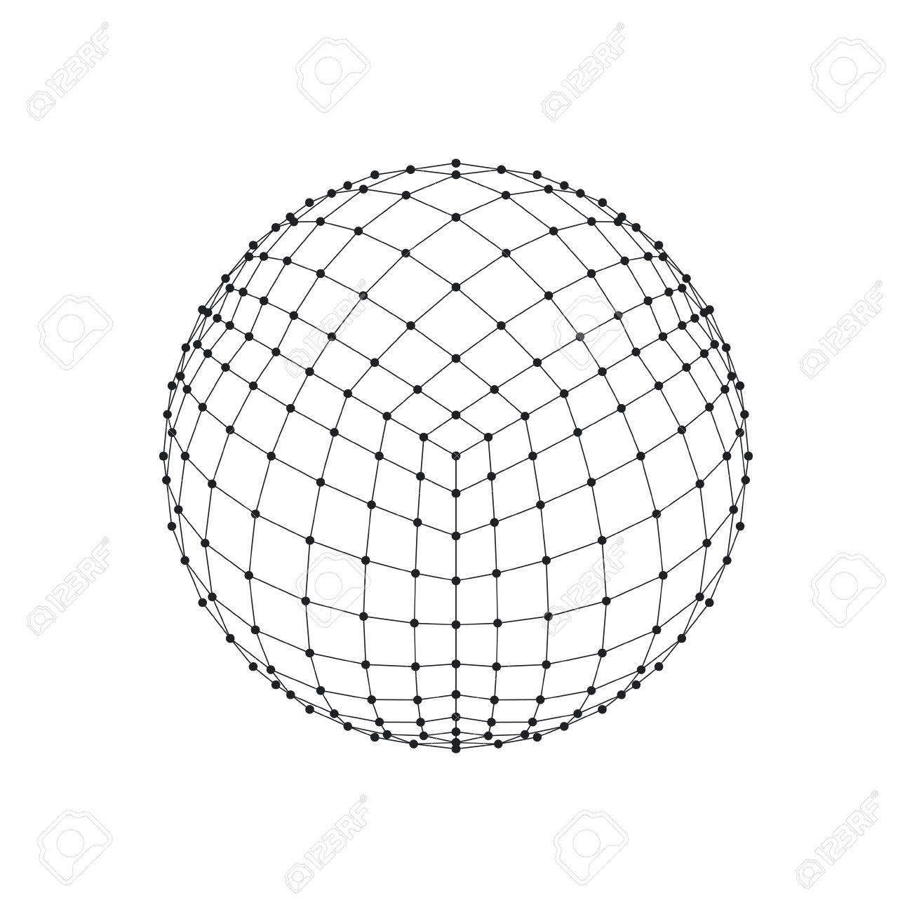 1300x1300 3d Hexahedron Wireframe Mesh Sphere. Network Line, Hud Design