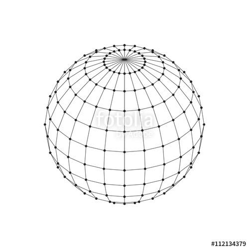 500x500 Wireframe 3d Mesh Polygonal Sphere. Network Line, Hud Design