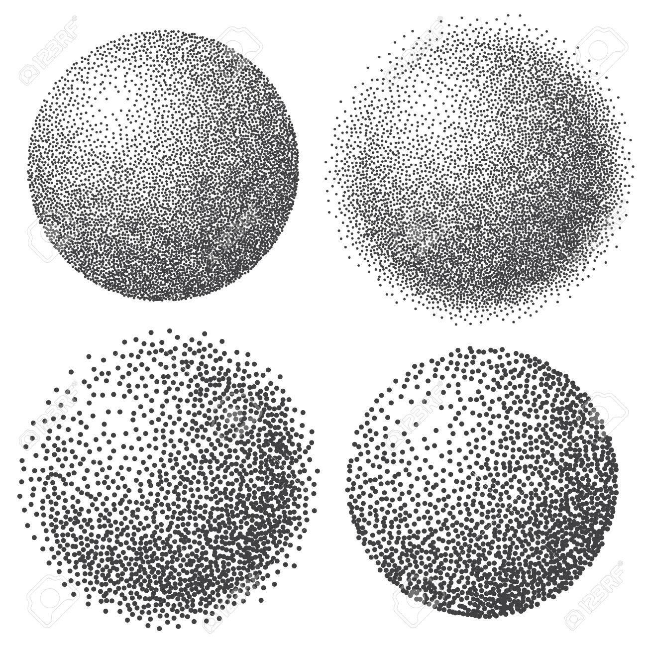 1300x1300 Abstract Dotted Sphere, 3d Halftone Dot Effect. White Color