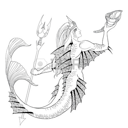 450x450 Merman Or Triton Mythological Ocean Creature Armed With Trident