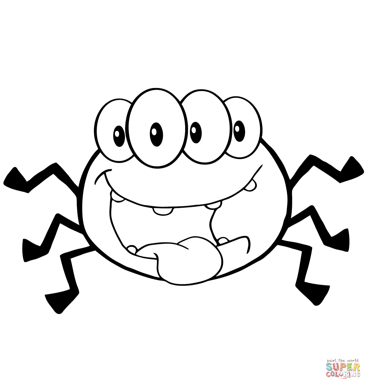 1237x1300 Happy Cartoon Spider Coloring Page Free Printable Coloring Pages