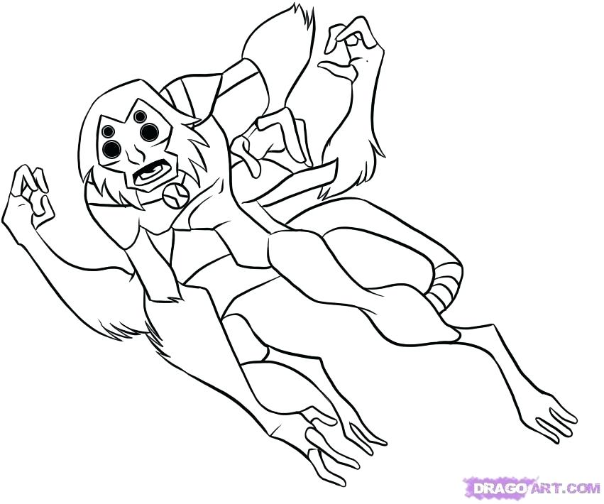 851x710 Spider Monkey Coloring Pages Pin Spider Monkey Easy Draw 6 Ben 10