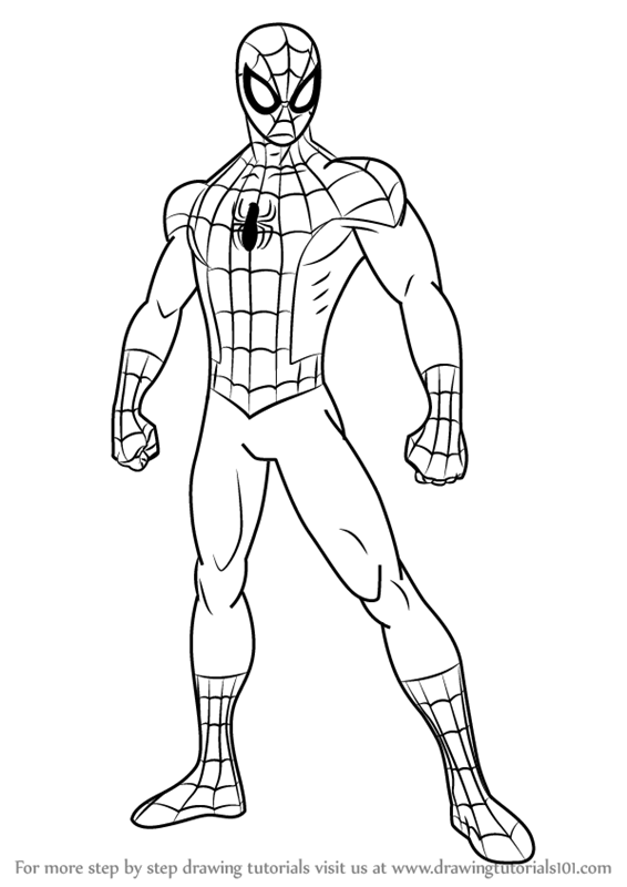 566x800 Coloring Pages Spiderman Drawing Easy Spiderman Drawing Easy