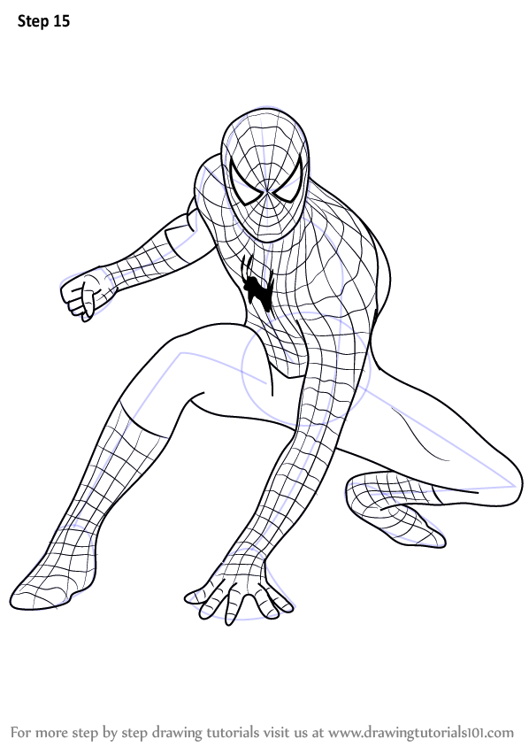 598x844 Learn How To Draw Spiderman (Spiderman) Step By Step Drawing