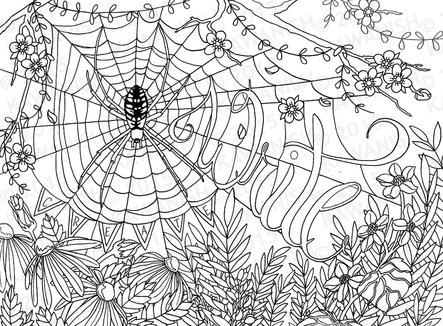 1500x1105 Creative Writing Spider Flower Adult Coloring Page Gift Wall