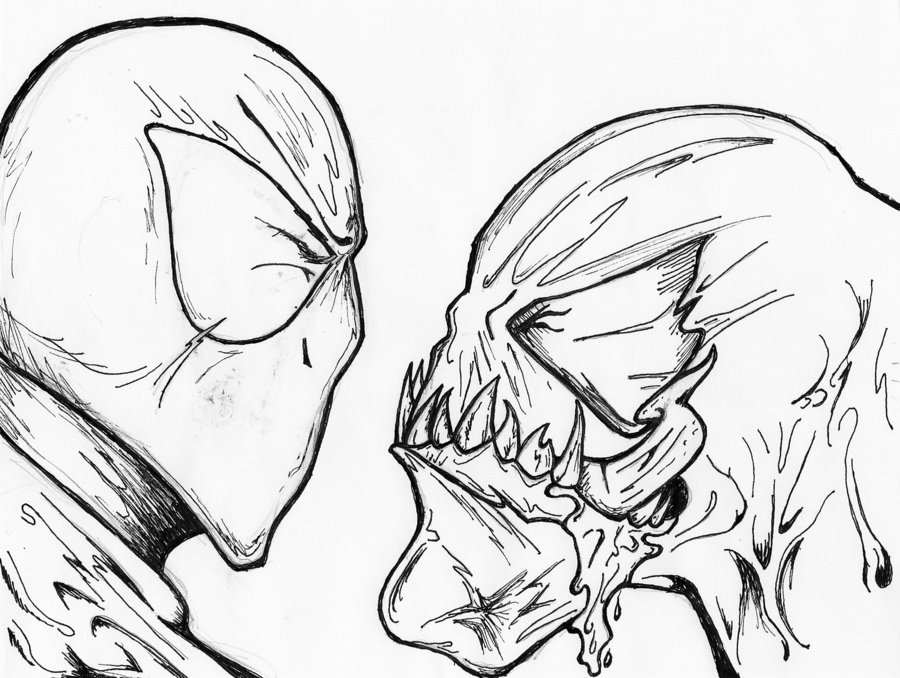 900x678 Spider Man And Venom Uncolored By Behomby