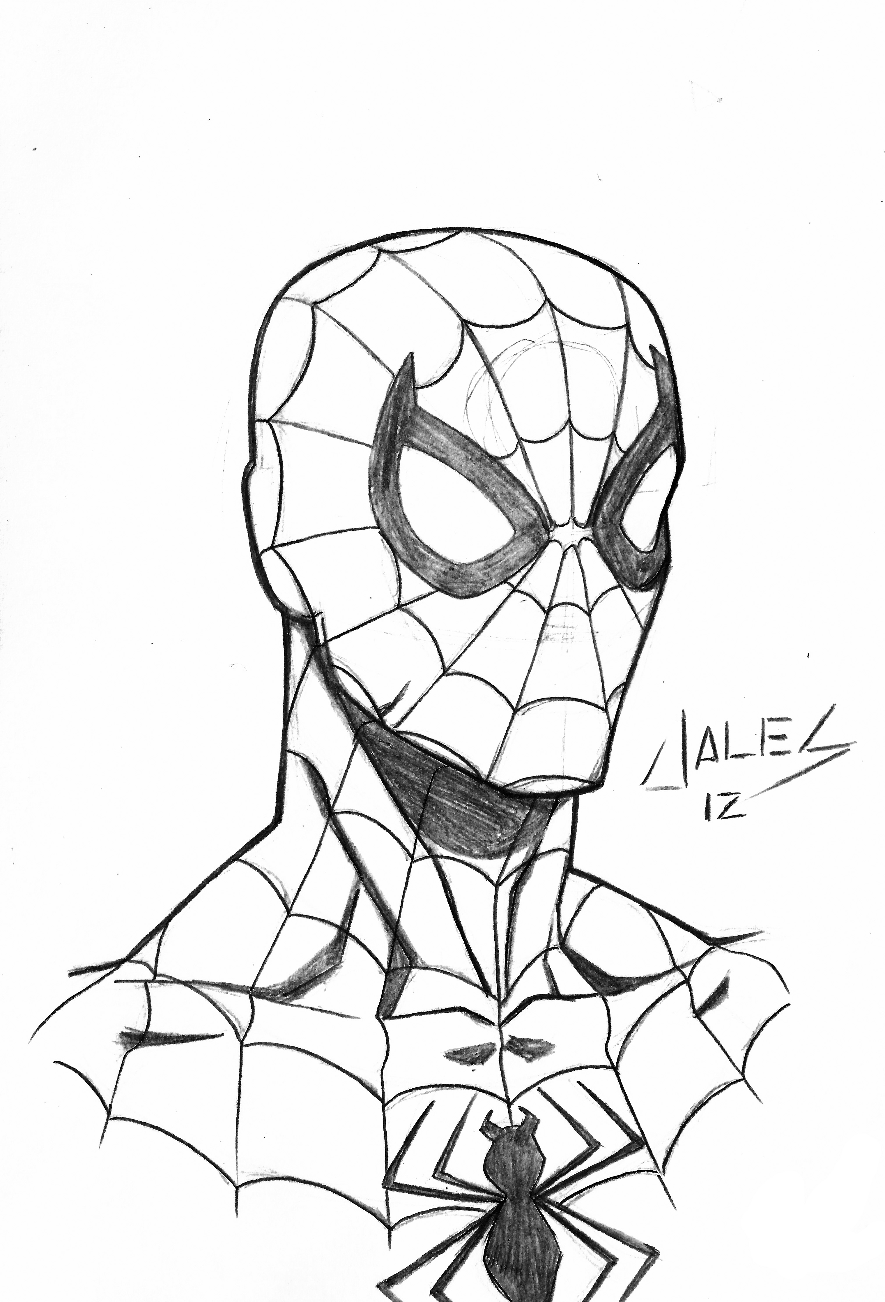 3040x4470 Spiderman Face Drawing How To Draw Spider Man In Fine Art Style