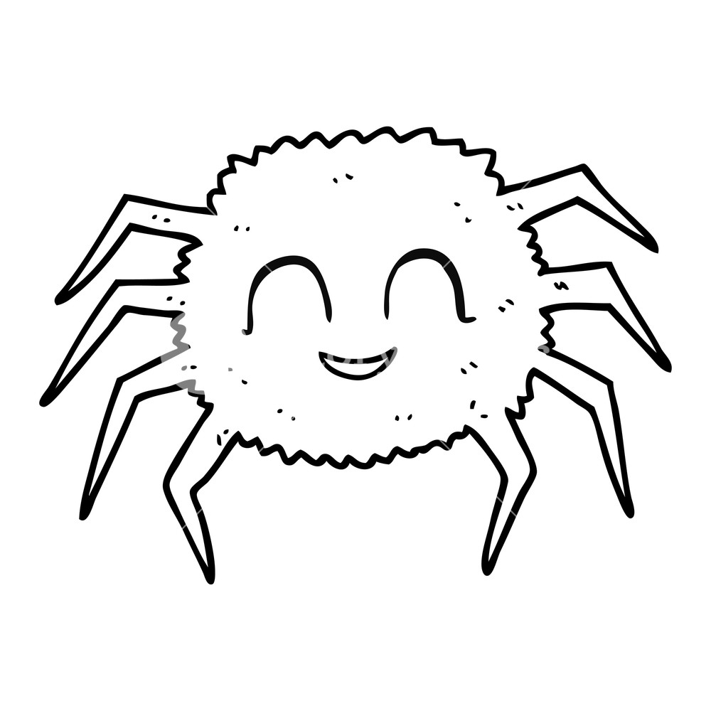 1000x1000 Freehand Drawn Black And White Cartoon Spider Royalty Free Stock