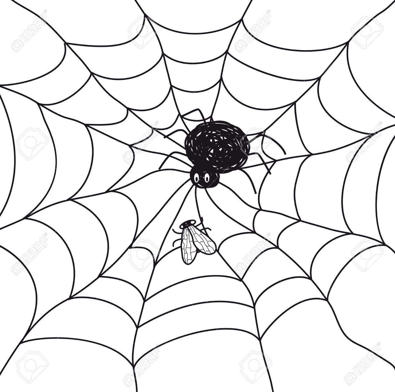 1300x1290 Spider With A Fly In A Web Illustration On White Background
