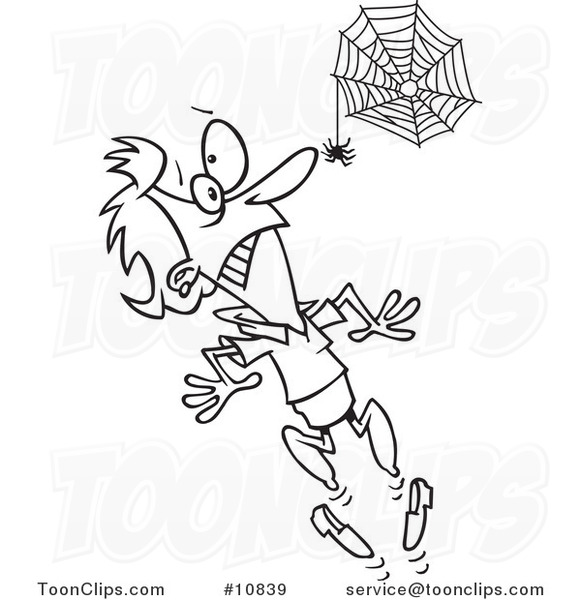581x600 Cartoon Black And White Line Drawing Of A Spider Scaring A Lady