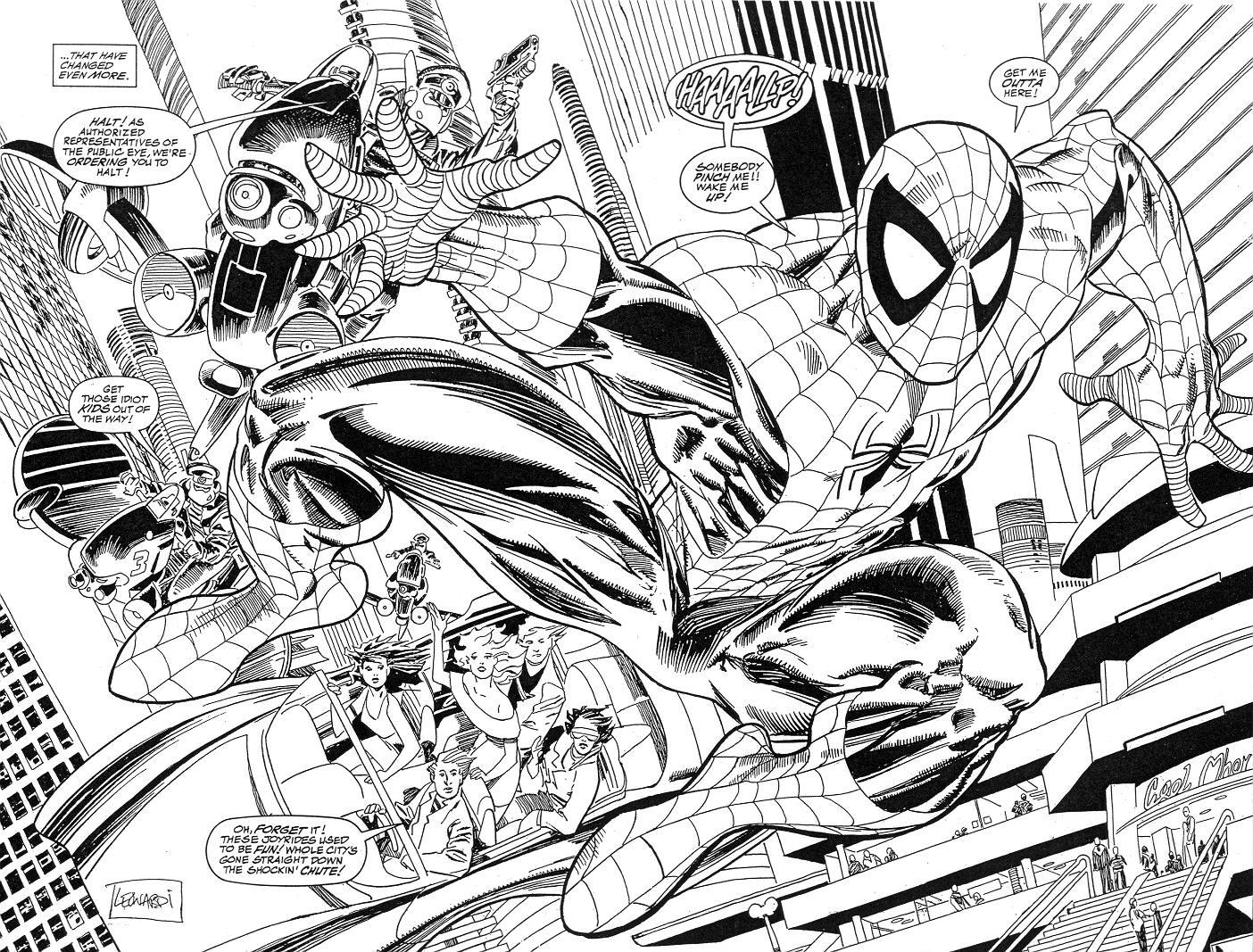 1404x1067 Spider Man 2099 Graphic Novel, Pgs. 2 3, In Eric Dls's Leonardi