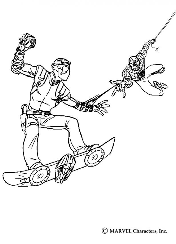 616x850 Spiderman Catching Harry Osborn The New Goblin Coloring Pages