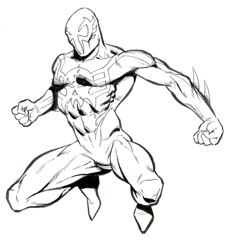 800x843 Spider Man 2099 Easy Drawing