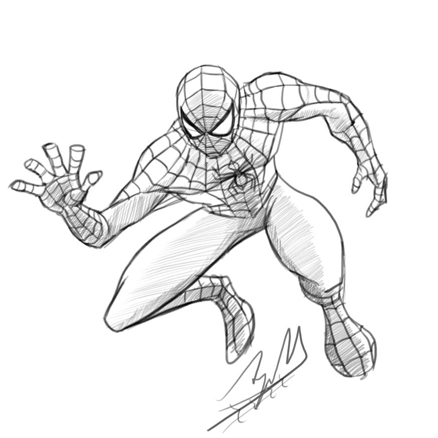 874x874 Spider Man Digital Pencil Sketch By Arjunm0102