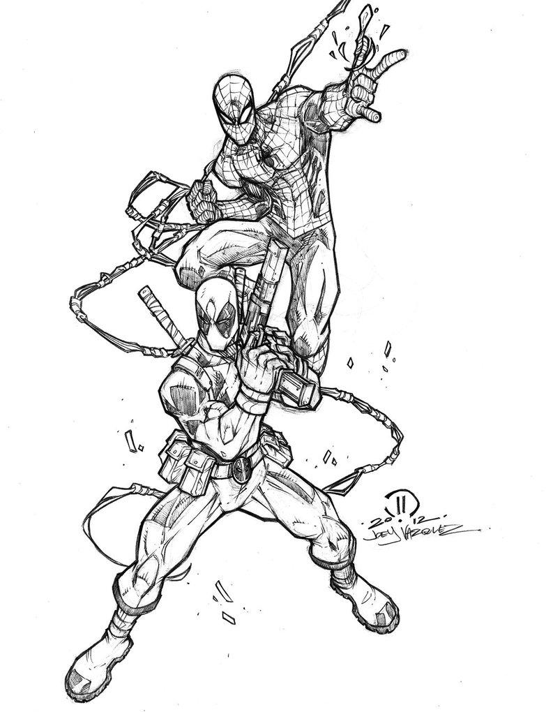 783x1020 Spider Man Dead Pool Pencils By Joeyvazquez
