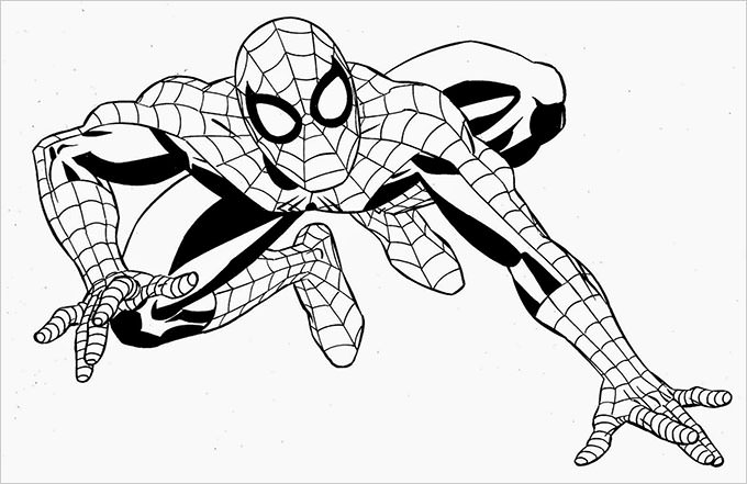 680x441 Spiderman Traceable Drawing Clipart Spiderman Pencil And In Color
